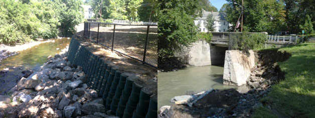 before and after photos of geocell wal that washed away in Hurricane Irene